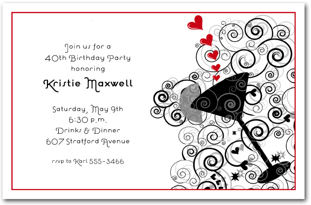 Red Hearts Swirls Cocktail Invitations Cocktail Party Invitations – Red Party Invitations