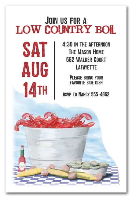 Seafood Table Party Invitations