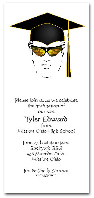 Shades Amp Black Cap Boy Graduation Party Invitation