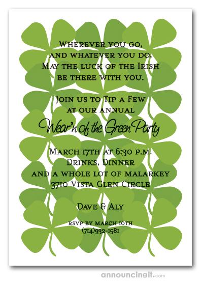 Shamrock Collage St Patrick S Day Invitations