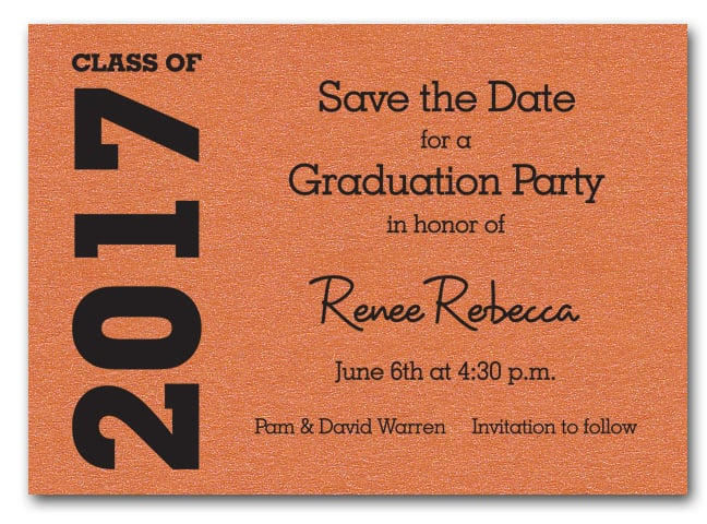 Shimmery Orange Graduation Save the Date Cards – Save the Date Graduation Invitations