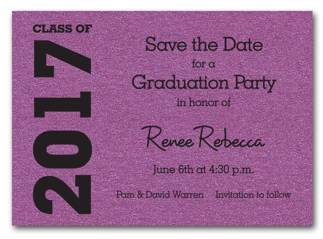 Shimmery Purple Graduation Save the Date Cards – Save the Date Graduation Invitations