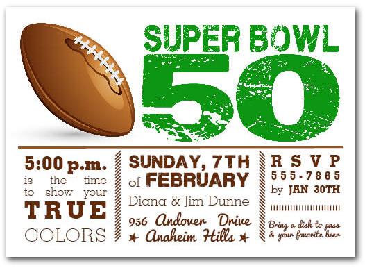 Football Super Bowl 50 Party Invitations
