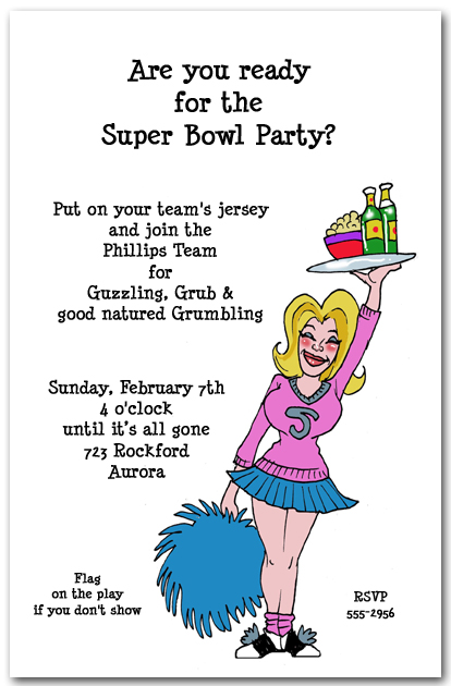 Football Cheerleader Super Bowl Party Invitation – Super Bowl Party Invitation Wording