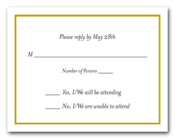 Goldenrod border on white rsvp cards reply cards for Rsvp template for event