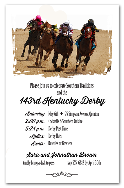 Round the Curve Kentucky Derby Party Invitations, Horse ...