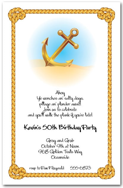 Anchor & Rope Nautical Themed Party Invitations