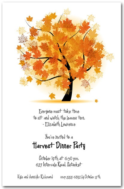 autumn maple tree invitations  fall party invitations