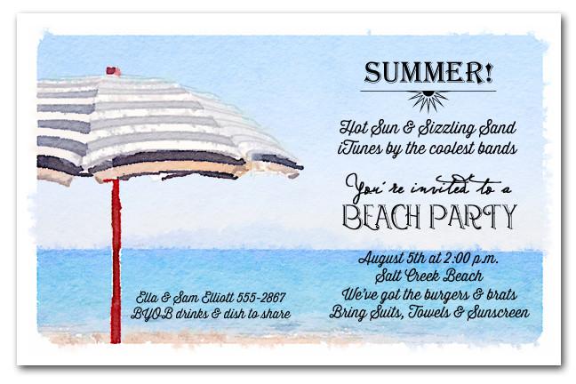 striped beach umbrella summer party invitations