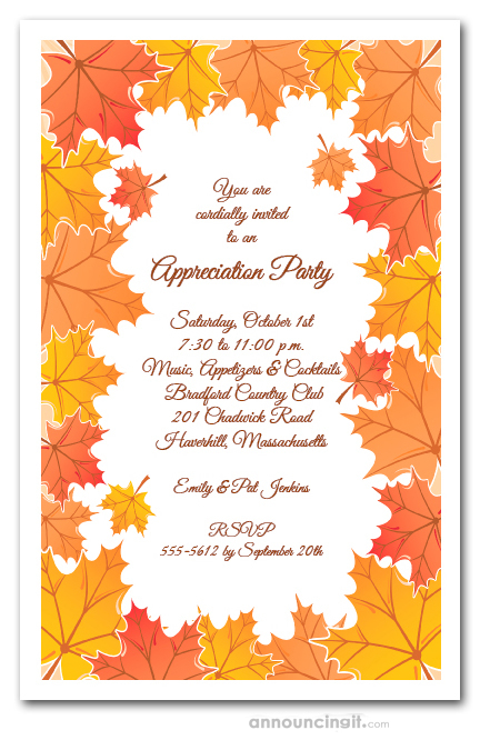 Tangerine Fall Leaves Invitations Autumn Party Invitations – Fall Birthday Party Invitations