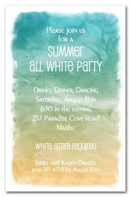 Abstract Ocean All White White Party Invitations