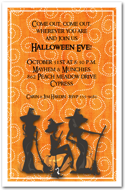 Three Witches Spell Halloween Invitations