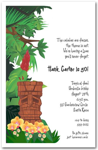 Tiki God Luau Invitation Mask Home 50th Birthday