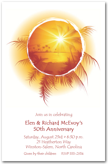 tropical sunset on water invitation  summer party