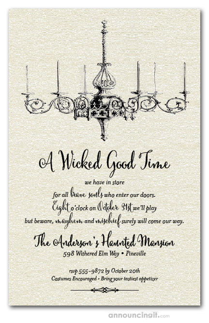 Shimmery white vintage chandelier halloween party invitations for Vintage halloween party invitations
