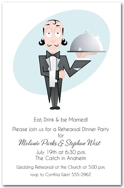 Waiter And Food Tray Party Invitation