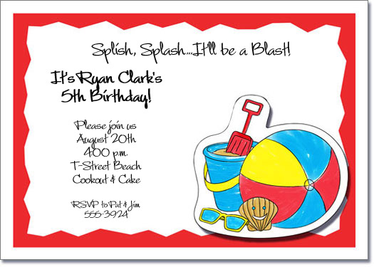 Kids Beach Party Invitations, Beach Invitations, Pool Birthday ...