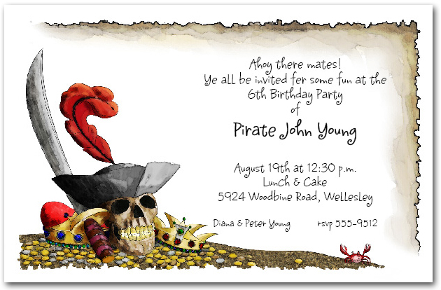 Pirates Gold Birthday Party Invitations – Pirate Party Invite
