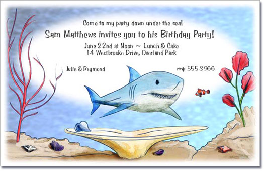 Shark Undersea Birthday Party Invitations