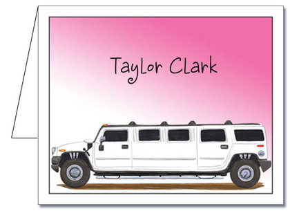 Note Cards: Sunset Hummer Limo