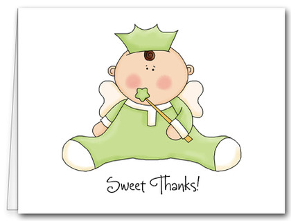 Note Cards: Angel Baby Green