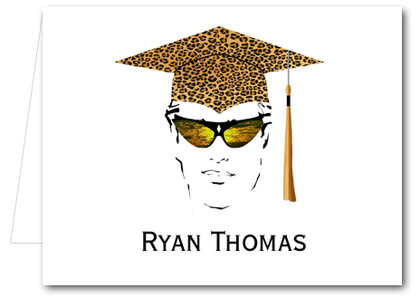 Note Cards: Leopard Grad Male