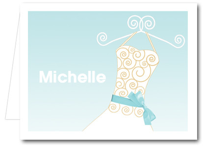 Note Cards: Blue Ribboned Dress