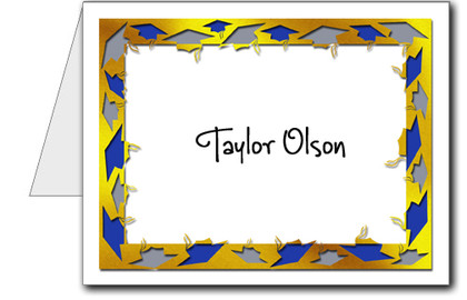 Note Cards: Grad Blue & Silver on Gold