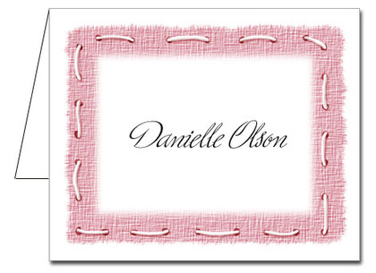 Note Cards: Stitched Pink