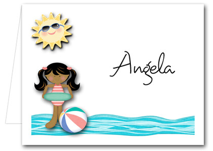 Note Cards: Swim Girl Ethnic