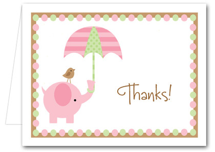Pink Elephant Baby Shower Folded Note Cards  Thank You Notes