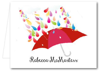 Note Cards: Raindrops Red Umbrella