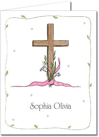 Note Cards: Cross & Lily - Pink