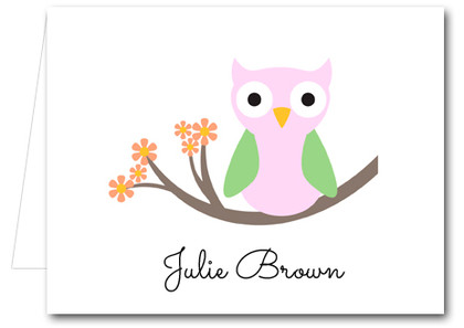 Note Cards: Pink Owl