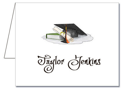 Note Cards: Black-Orange Graduation