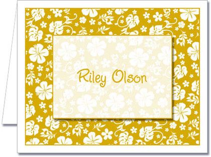 Note Cards: Gold Hawaiian Floral