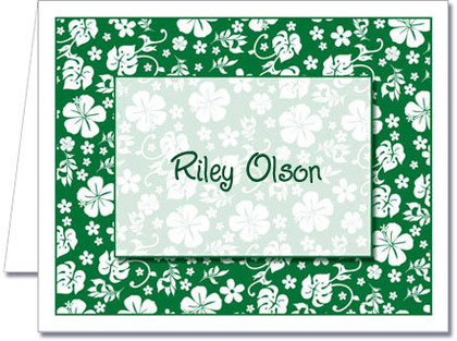 Note Cards: Green Hawaiian Floral