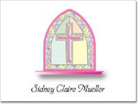 Note Cards: Stained Glass Cross Pink