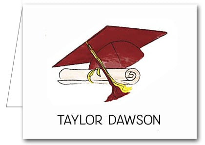 Note Cards: Burgundy-Yellow Graduation