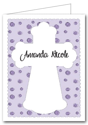Note Cards: Cross on Lilac Curls