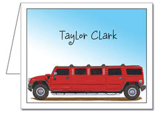 Note Cards: Red Hummer Limo