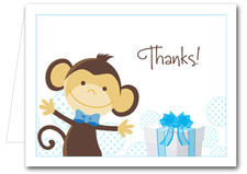 Note Cards: Monkey & Gift Blue