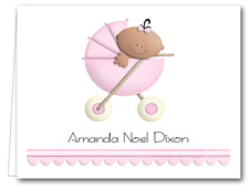 Note Cards: Ethnic Baby Girl in Stoller