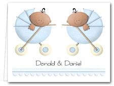 Note Cards: Ethnic Boy Twins in Stoller