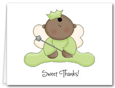 Note Cards: Ethnic Angel Baby Green