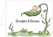 Note Cards: Peapod Twin Boy & Girl