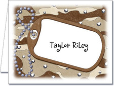 Note Cards: Dog Tag on Desert Camo