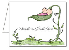 Note Cards: Peapod Twin Girls