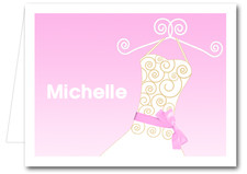 Note Cards: Pink Ribboned Dress