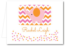 Note Cards: Pink Elephant Chevron